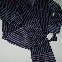 Nwt in Bloom by Jonquil Navy/blue/wine Whistler Stripe Satin Pajama/lounge Set M Photo
