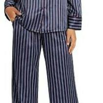 Nwt in Bloom by Jonquil Navy/blue/wine Whistler Stripe Satin Pajama/lounge Set S Photo