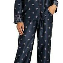 Nwt in Bloom by Jonquil Navy/wine Whistler Medallion Satin Pajama/lounge Set M Photo