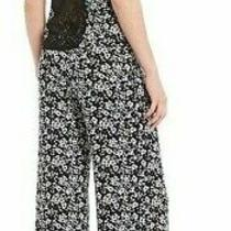 Nwt in Bloom Jonquil Black/white Lincoln Floral Slinky Knit Pajama Set Xl Lace Photo