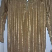 Nwt Inc Gold Metallic Sexy Top Shirt Small Womens Rhinestone Photo