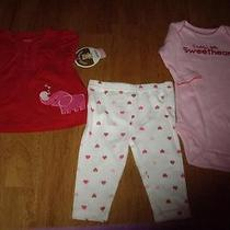 Nwt Infant Girls Size 0-3m Carter's Child of Mine 3pc Set Sweeheart Valentines  Photo