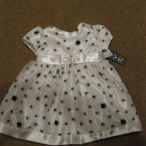Nwt Infant Size 12 Month Cream/silver/black Glitter Fancy Holiday  Dress  Photo