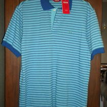 Nwt Izod Men Luxury Sport Polo Aqua/blue Stripe S/s Collar Shirt Small 50 Photo