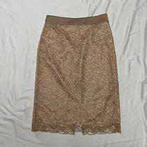 Nwt J Crew Satin Skirt in Metallic Lace Blush Pencil Skirt Size 12 Style Af940 Photo