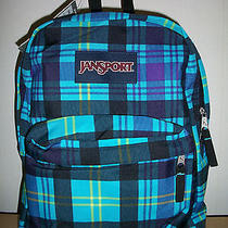 Nwt Jansport Superbreak Backpack 1550 cu.in/25l  - Mammoth Blue Preston Plaid Photo