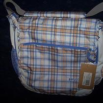 Nwt Jansport White/lavender Sky Js Tartan 2 Messenger Computer Bag Backpack Photo