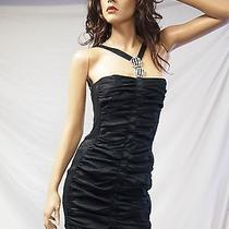 Nwt Jessica Mcclintock 54031 Black Ruched Taffeta Dress 4 Photo