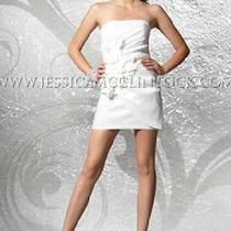 Nwt Jessica Mcclintock 54044 White Stretch Taffeta Flower Dress Size 2 Photo