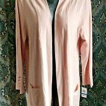 Nwt Jm Collection Long Blush Pink Open-Front Cardigan Sweater Pockets - Sz Xl Photo