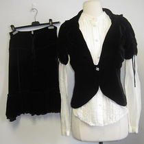 Nwt Joie 3 Pc Black Velvet Jacket and Skirt With Blouse Sz Xs/s Photo