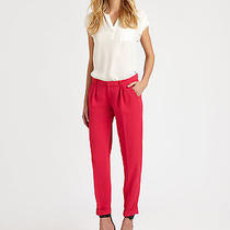 Nwt Joie Anderson B in Bright Rose Pink Crepe Cuffed Ankle Pants 6 X 29 Photo