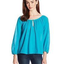 Nwt Joie Khan Cotton Crepe Blouse Xs Peacock 100% Cotton Photo