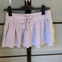 Nwt Joie Light Blue Linen Blend Corset Style Mini Skirt With Raw Edges Size 2 Photo