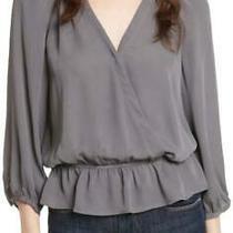 Nwt Joie Lourve Silk Peplum Blouse Top Steel 2088h-21300c Women's Medium M 288 Photo