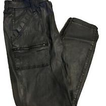 Nwt Joie  Park Skinny Coated Black Caviar Jeans Size 26 Ankle Zip Cuff 248 Photo