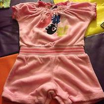Nwt Juicy Couture Baby Girl Soft Terry Prism Pink Romper 12-18 Months Lk Photo