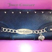 Nwt Juicy Couture Black 100% Leather Id Bracelet Clutch Zip Wallet Ysruo132 Photo