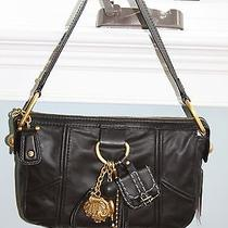 Nwt Juicy Couture Black Leather Charm Pendant Small Hobo Purse 228 Photo