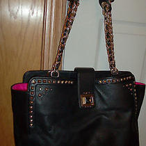 Nwt Juicy Couture Freya Black  Leather/ Gold Studded Tote Photo