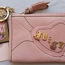 Nwt Juicy Couture Heart Blush Leather Coin Purse Key Chain Id Holder Wallet 55 Photo