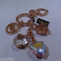 Nwt Juicy Couture Stone Hearts Rose Gold Tone Key Fob Chain Ring Photo