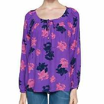 Nwt Juicy Couture Szm Floral Blush Long Sleeve Top Grape Wine Floral 138.00 Photo