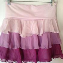 Nwt Juniors Bebe Pink Ruffle Tier Mini 100% Silk Skirt Fold Waist Band Size S B2 Photo