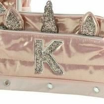 Nwt Jwn31a 021justice Girls Quilted Rose Gold Unicorn Pencil Case Bag Initial K  Photo