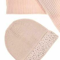 Nwt k.i.t Collection Women's Blush Crystal Stud Fringed Scarf & Hat Set Gift Box Photo