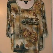 Nwt Karen Kane Animal Instinct Italian Tee 3/4 Sleeve Knit Shirt Top Size 2x Photo