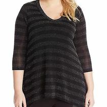 Nwt Karen Kane Boho Blush Silver/black Sparkle Striped Knit Tunic Top Size 2x Photo