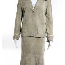 Nwt Karen Kane Lifestyle Tuscan Sunrise Suede Lace Cut Edges Skirt Suit Sz M 8 Photo
