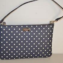 Nwt Kate Spade Grant Street Grainy Vinyl Lolly Wristlet Navy Cream Dots Bag 148 Photo