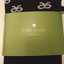 Nwt Kate Spade Kids Girls Black Tights W/ White Bows Age 2-5 Skirt the Rules Xs Photo