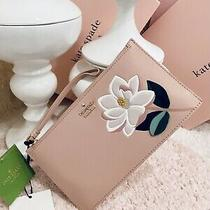 Nwt Kate Spade Magnolia Flower Wristlet Blush Pink Embellished Leather Purse  Photo