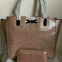 Nwt Kate Spade Mavis Street Taden Tote & Matching Neda Wallet Glitter Rose Gold Photo