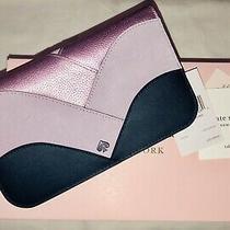 Nwt Kate Spade Nadine Medium Patchwork Leather Bi-Fold Clutch Walletnavy189 Photo