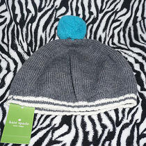 Nwt Kate Spade Psru0871 Mod Spot Gray Winter Beret Hat Great Deal Turquoise Wool Photo