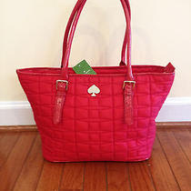 Nwt Kate Spade Quilted Signature Spade Small Harmony Handbag Lacquered Red Photo