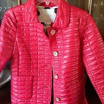 Nwt Kate Spade Red Lacquered Quilted Jacket Xs Christmas Gift Photo