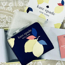 Nwt Kate Spade Small Lemon Zest Bi-Fold Wallet Blue/yellow Boxed  - Compact  Photo