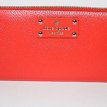Nwt Kate Spade Wellesley Neda Clutch Leather Zip Around Walletlacquer Red Photo