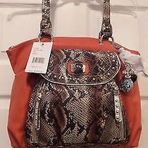 Nwt Kathy Van Zeland Sunset Color Handbag With Snake & Rhinestone Embelishments Photo