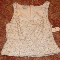 Nwt Kay Unger Silver Shot & Pearl Sleeveless Formal Top 14 Saks Fifth Ave Photo
