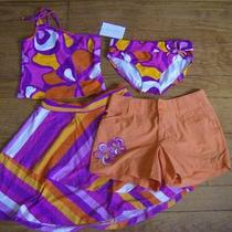 Nwt Kc Parker Hartstrings Girls 12 Two Piece Bathing Suit  Shorts Skirt Set Photo