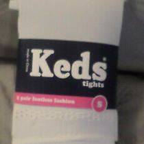 Nwt Keds Girls Footless Tights  - S- (4-6) - White/beige Photo
