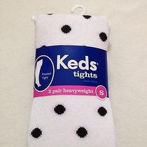 Nwt Keds Kohl's Heavyweight White Polka Dots Black 2 Pair Footed Tights S 4/6 Photo