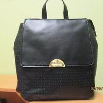 Nwt Kenneth Cole Reaction Black Pebbled Zip Entry Shoulder Backpack Purse Photo