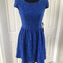 Nwt Kensie Blue Lace Cap Sleeve Skater Dress Small Photo